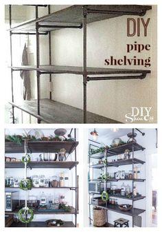 DIY pipe shelving at DIYShowOff