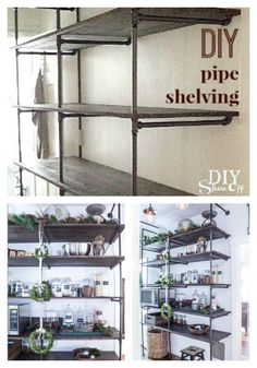 DIY pipe shelving at DIYShowOff