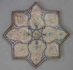 Star-Shaped Tile  Date: 13th–14th century Geography: Iran, Kashan Culture: Islamic Medium: Stonepaste; luster-painted