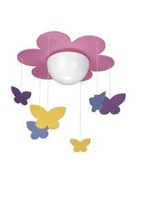 Philips Ceiling Lamps Fuchsia - Lightings for Kid's Room - Nursery & Home Kids Ceiling Lights, Kids Room Lighting, Ceiling Light Design, Room Lights, Ceiling Lamps, Lighting Ideas, Butterfly Room, Butterfly Kids, Purple Ceiling