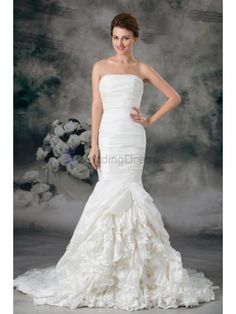 Taffeta Strapless Sweep Train Mermaid Wedding Dress