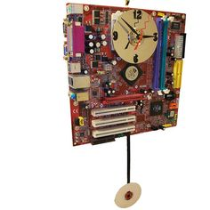 Red Motherboard Pendulum Wall Clock. Unique for a Geek. by TECOART