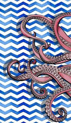 Octopus wallpaper and background Kraken, Cute Wallpapers, Wallpaper Backgrounds, Iphone Wallpaper, Girl Wallpaper, Disney Wallpaper, Wallpaper Quotes, Creative Challenge, Octopus Wall Art
