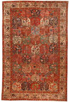Antique Bakhtiari Carpet (The Bakhtiari (Bakhtiari Lurish: بَختیارؠ, Persian: بختیاری‎, ) are an ancient southwestern Iranian tribe. They speak the Bakhtiari dialect, a southwestern Iranian dialect, belonging to the Lurish language)