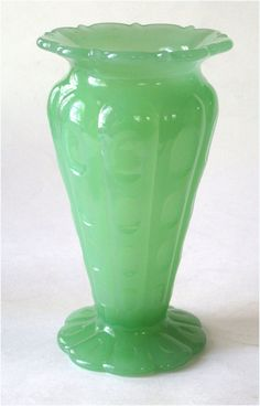 1920s Fenton Art Glass Jade or Jadite Thumbprint Art Deco Vase