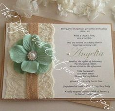 Rústico Vintage Garden encaje colección invitación - arpilleras, Kraft, antiguo sabio verde flor y perlas-ducha nupcial, boda, Baby Shower