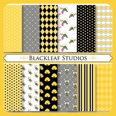 Busy Bee Digital Paper for Scrapbooking, Cards, Invites, Photographers, Crafts, Personal and Commercial Use