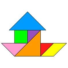 Tangram Houseboat - Tangram solution - Providing teachers and pupils with tangram puzzle activities Transportation Activities, Tangram Puzzles, Practical Life, Preschool Math, Busy Book, Pattern Blocks, Travel With Kids, Worksheets, Activities For Kids