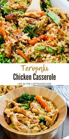 Teriyaki Chicken Casserole, Chicken And Vegetable Casserole, Healthy Chicken Casserole, Teriyaki Chicken And Rice, Chicken Cassarole, Chicken And Rice Dishes, Chicken Rice Recipes, Easy Casserole Recipes, Casserole Dishes