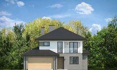 Проект современного двухэтажного коттеджа с гаражом на два автомобиля S8-273 (Кассиопея 7). Фасад 1. Shop-project Townhouse, Gazebo, Outdoor Structures, Country, House Styles, Outdoor Decor, Home Decor, Houses, Home