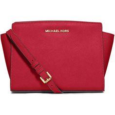 MICHAEL Michael Kors Selma Medium Saffiano Messenger Bag (328 AUD) ❤ liked on Polyvore