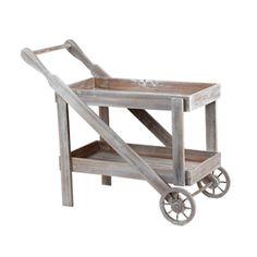 Carito mesa auxialar decapado en madera gris.