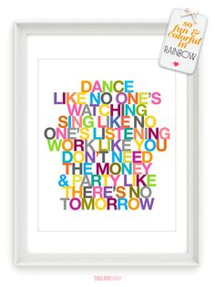 Dance Sing Party  Typography Quote  8x10 Deluxe by theloveshop, $20.00