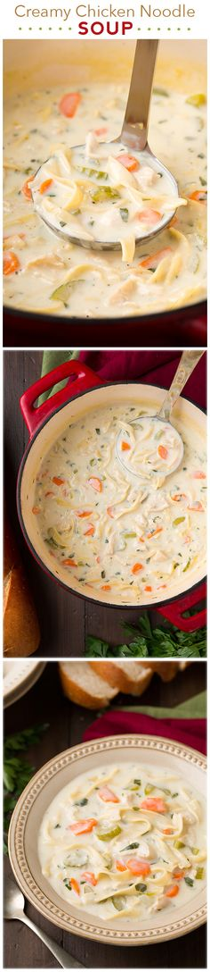 Creamy Chicken Noodle Soup - my new FAVORITE chicken noodle soup recipe! It is seriously amazing! It's so creamy and perfectly comforting.