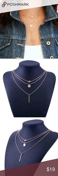 Geometric Crystal 3 layered Gold Necklace New Geometric Crystal 3 layered Gold Necklace Jewelry Necklaces