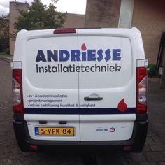 De #bedrijfswagen van #Andriesse #Installatietechniek rijdt nu rond met een door #pdvmedia ontworpen #logo! Wat een resultaat! #stoer #chique #strak #ontwerp #belettering