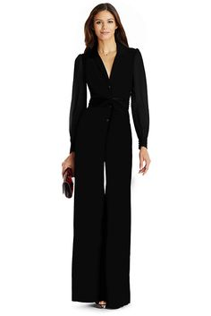 Our fresh and sexy Catherine shirt dress is reimagined as a dramatic, curve hugging jumpsuit style. With menswear-inspired button front and lapels and self-tie belt.