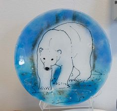 Fused glass - big plate, 37 cm with polar bear