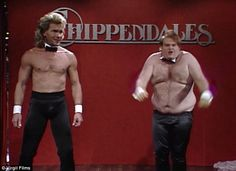 SNL star: Thanks to characters like motivational speaker Matt Foley and acts like being a Chippendale's dancer - above with Patrick Swayze - Chris was a big SNL draw for five years
