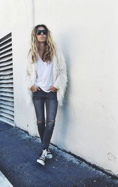 street style inspo textured fluffy shaggy coat converse trainers converses casual fall ripped jeans.