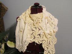 Victorian Shabby Chic Scarf Pearl White Lagenlook by NanasSunshine