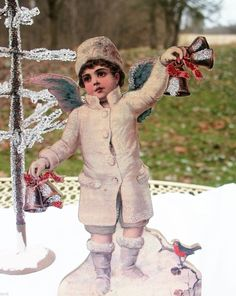 Primitive Christmas Victorian Angel Scrap Picture Die Cut Out Music Box | eBay