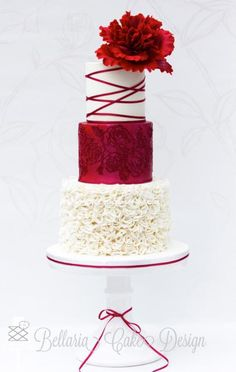 Red and white wedding cake with Peony