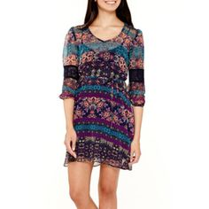 Love Reigns Crochet-Inset Sleeve Floral Chiffon Dress  found at @JCPenney