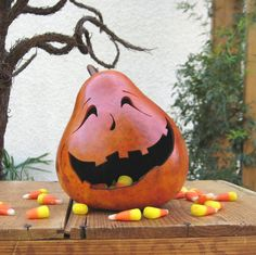Halloween Gourd JackOLantern Natural Carved by pinchmeboutique, $15.00