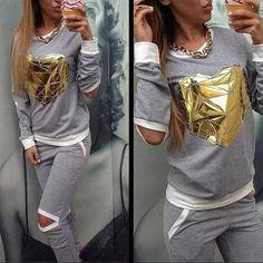 Gold Heart Hollow Out Lady Tracksuit Women Hoodies Sweatshirt +Pant Jogging Sports Track suit 2 Piece Set