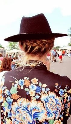 Whimsical Runway Hairstyles| Braided Up Do | With Urban Brown Hat| Chic Casual Ready| Serafini Amelia