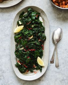 Sauteed Kale with Chiles and Lemon. The lemon and Fresno chili cut through the kale and makes this winter side dish like a flavor explosion in your mouth. Healthy Side Dishes, Vegetable Side Dishes, Side Dishes Easy, Side Dish Recipes, Veggie Recipes, Real Food Recipes, Detox Recipes, Vegetarian Recipes, Healthy Recipes