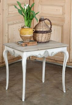 Antique Country French Occasional Table | Antique Painted Furniture | Inessa Stewart's Antiques