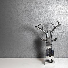 Kashmir Textured Gunmetal Grey Wallpaper