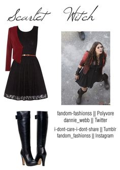 Scarlet Witch by fandom-fashionss on Polyvore featuring polyvore, fashion, style, Yumi, Simon Jeffrey, Quiksilver and clothing
