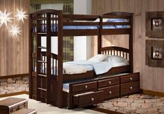 Twin Over Twin Arch Captain's Bunk Bed (cappuccino)