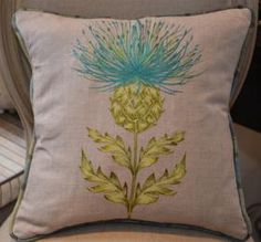 thistle embroidered pillow Lavender Dresses, Country Estate, Home Textile, Table Runners, Embroidery Stitches, Tattoo Ideas, Cushions, Textiles, Homes
