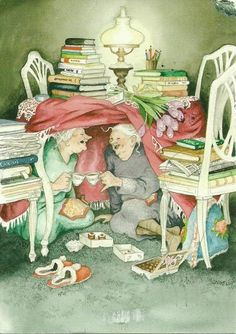 ... inge look ... grannies surrounded by books in a fort having tea ... what's not to love?
