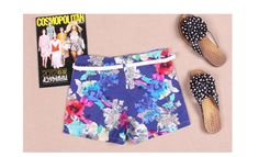 New Arrival Floral Half Waist Shorts With Belt $6.73