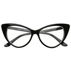663d445a59 Super Cat Eye Glasses Vintage Inspired Mod Fashion Clear Lens Eyewear  (Black) Super Cat