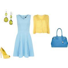 """Light Spring : blue- yellow inspiration"" by adriana-cizikova on Polyvore"