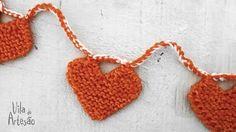 Como fazer uma #guirlanda com corações de #trico.  #artesanato #craft #diy #passoapasso