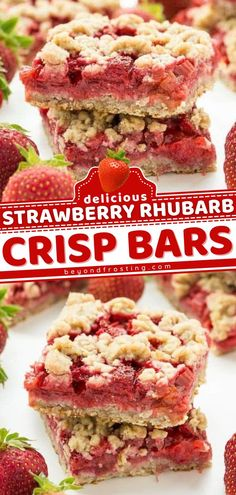 This strawberry recipe will become your new favorite sweet treat! Combined with rhubarb along with an oatmeal cookie base and topping, these crisp bars are the perfect summer dessert. Save this and try it! Strawberry Drinks, Strawberry Rhubarb Crisp, Strawberry Desserts, Summer Desserts, Summer Recipes, Best Dessert Recipes, Fruit Recipes, Chunky Chocolate Chip Cookies, Thanksgiving Desserts Easy
