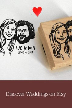 Personalized couple portrait stamp for save the dates, custom favors & gifts. Shop weddings on Etsy.