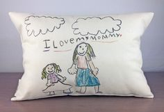 Gift Ideas for Grandparents: Kids artwork on a pillow from Finch & Cotter