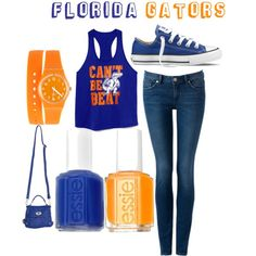 Casual but still super cute. Racer bank & be Beat& tank paired with jeans and Gator blue sneakers. Need that watch. Florida Girl, Florida Gators, Preppy Style, Style Me, Gator Game, Blue Sneakers, Passion For Fashion, Cute Outfits, Casual