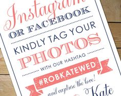Printable Social Media Sign by MyCrayons // Coral and Navy Wedding Signage