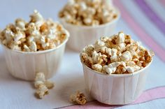 Even though the syrup is made in the spring, maple always feels like such a fall flavor to us. It goes so nicely with other other fall flavors like cinnamon, nutmeg, and ginger. This popcorn has a little of each and has become our snack of choice as the leaves start to change and the weather gets cooler.