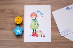 Postcard designed by Nataliia Pavliuk Greeting card printed from Watercolor