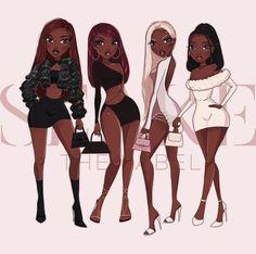 Black Cartoon Characters, Black Girl Cartoon, Dope Cartoon Art, Cartoon Art Styles, Black Love Art, Black Girl Art, Art Girl, Black Art Painting, Black Artwork